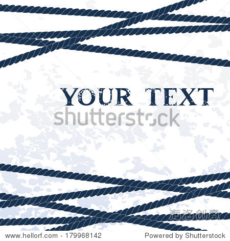 Navy blue ropes on white grunge background for your text  vector