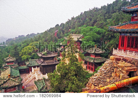 ornamental, beautiful buildings at longevity hill in summer palace, Beijing, China, stylized and filtered to look like an oil painting