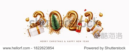 Happy New Year 2021. Golden metal number. Realistic 3d render sign. festive realistic decoration. Celebrate party 2021  Web Poster  banner  cover card  brochure  flyer  layout design. White background