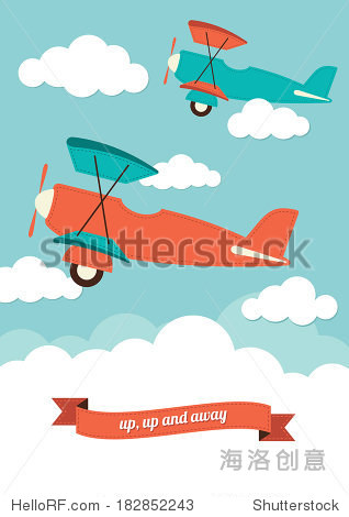Illustration of a biplanes in the clouds