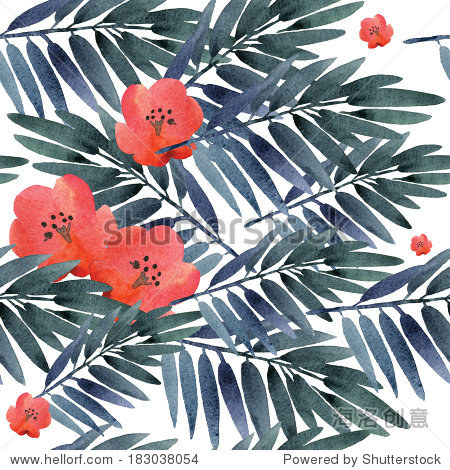 Seamless pattern of exotic flowers and leaves.