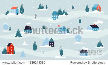 Winter snowy landscape. Christmas house minimal background  country or cute village in forest. Flat street cold weather and snow