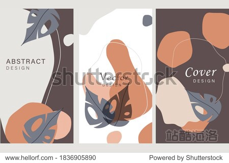 Vector set of abstract backgrounds with copy space for text - bright vibrant banners  posters  cover design templates  social media stories wallpapers with tropical leaves and plants