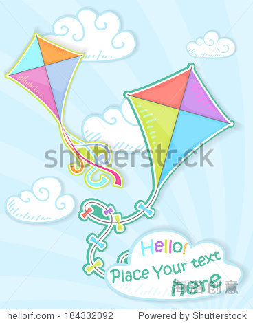Colorful kite in the sky  paper stylized