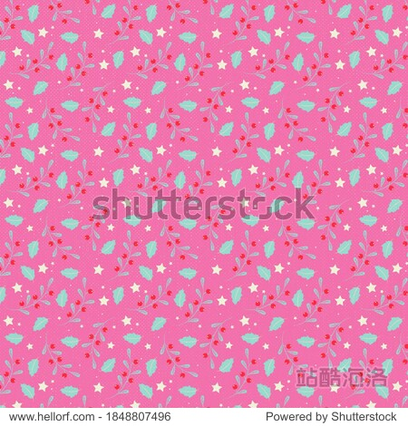 Modern Merry Christmas Holiday Holly and Berry Pink Background Pattern