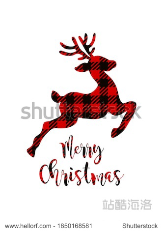 Vector Deer silhouette drawing illustration with Buffalo Red Black Gingham Lumberjack tartan Checkered plaid pattern background texture.Merry Christmas lettering.Gift card with reindeer.Winter decor.