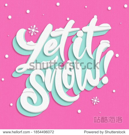 Cut Paper Let It Snow Illustration on Pink Textured Background Snowflakes Blue White