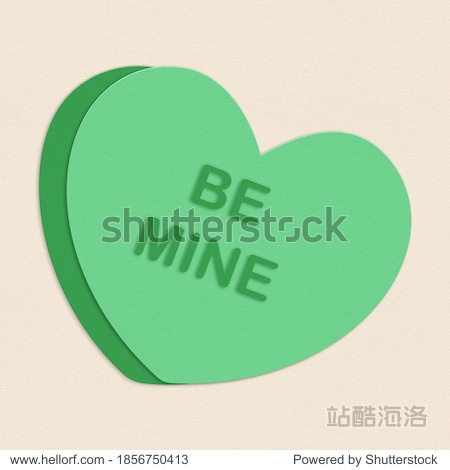 Cut Paper Illustration Be Mine Candy Valentine Heart Message Element Background Texture