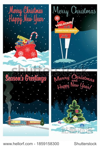 Season's Greetings! Christmas and New Year Greeting Cards  Mid Century Modern Illustrations Style  Santa Bag and Presents  Signboard  Country House  Christmas Tree