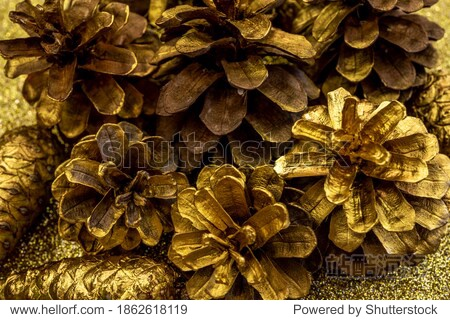 Christmas decorations with Pine Cone fortuna gold color as texture background. Hight quality photo