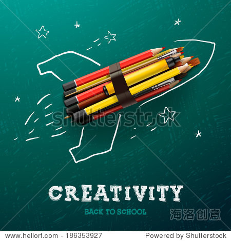 Creativity learning. Rocket ship launch made with pencils - sketch on the blackboard  vector image.