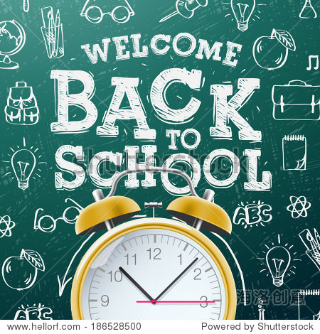 Welcome back to school sale background  with alarm clock  vector illustration.