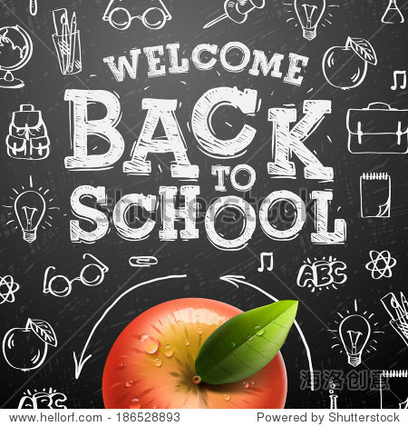 Welcome back to school sale background with red apple  vector illustration.