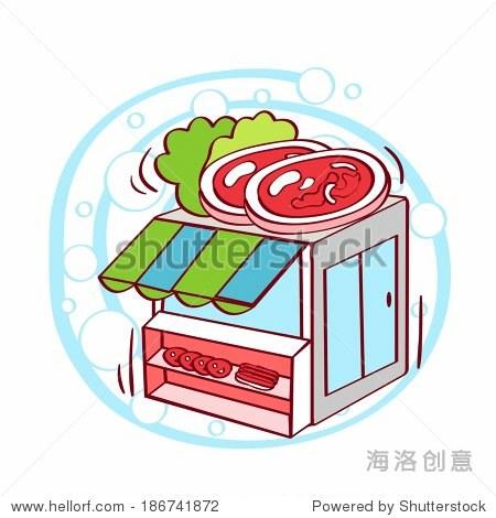 Illustration of meat slice on restaurant
