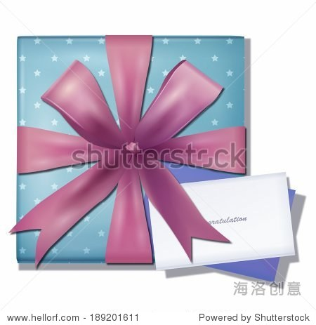 Illustration of gift box with a congratulation card