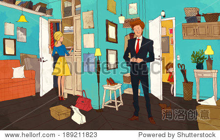 Illustration of couple at home