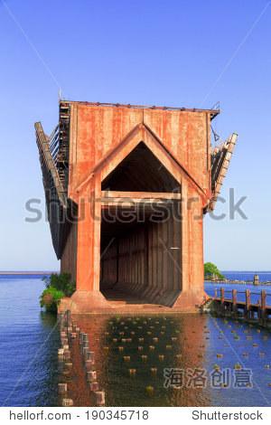 old ore dock in Marquette harbor