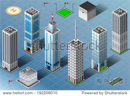 Detailed illustration of a Isometric Buildings Set
