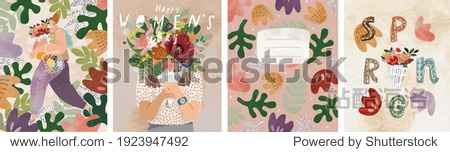 Women's day on March 8! Spring holiday. Vector illustration of a woman with a bouquet  floral ornament and abstract background. Drawings for postcard  card or congratulation