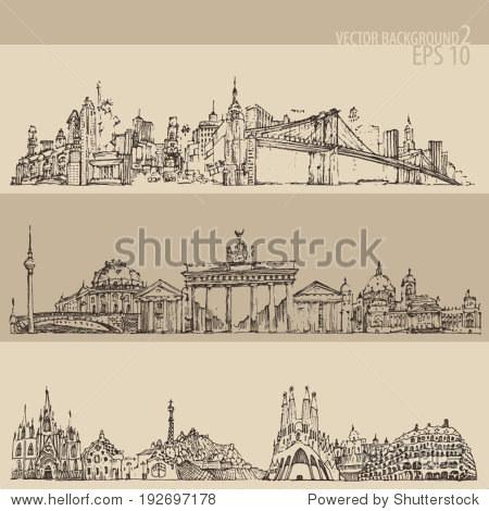 city set (New york  Berlin  Barcelona) vintage engraved illustration  hand drawn