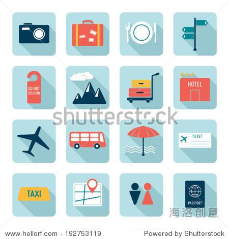 Travel icons  flat design