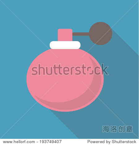 Vector illustration long shadow flat icon of retro perfume bottle