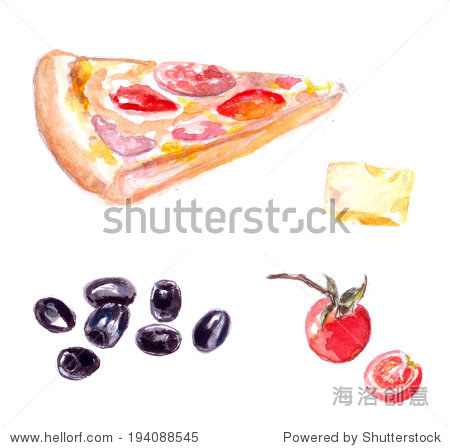 Set of isolated pizza slice  cherry tomato. olives and cheese. Watercolor illustration.