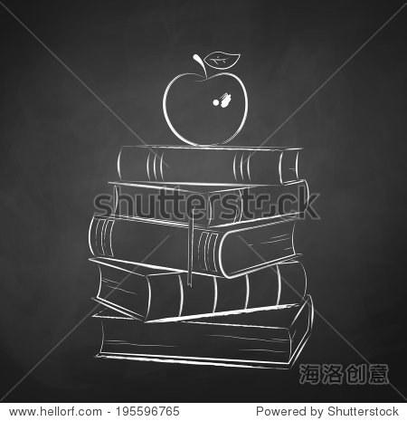 Apple on books. Chalkboard drawing. Vector illustration.