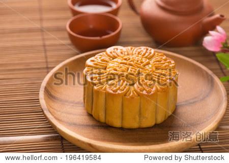 Mooncake and tea Chinese mid autumn festival food.