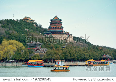 Summer Palace with historical architecture and boat in Beijing.