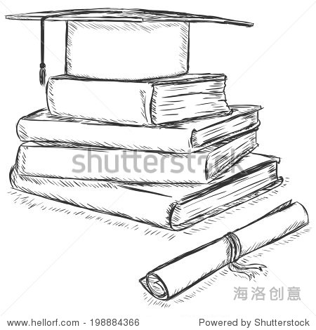 Vector Sketch Academic Hat on Stack of Books and Diploma