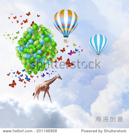 Sunny image of giraffe flying high in sky on aerostat