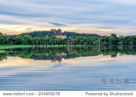 The Summer palace under the sunset in Beijing.