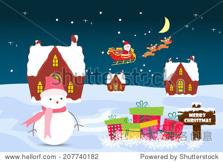Christmas Card with Santa Claus  snowman and christmas house