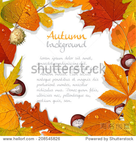 Yellow and red autumn leaves and chestnut background for your text