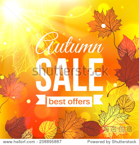 Autumn typographical background with foliage and blurred bokeh lights. Vector illustration.