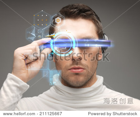 future  technology and people concept - man in futuristic glasses