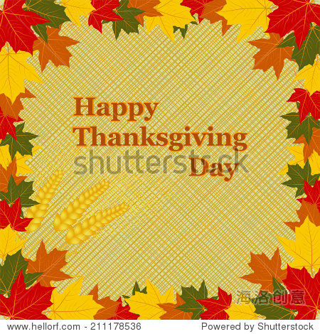 Happy Thanksgiving Day card.letters in the frame of autumn leaves  wheat on a beige background  vector
