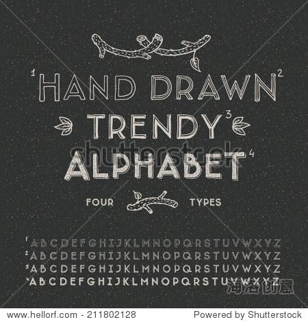 Trendy hand drawing alphabet  vector illustration.