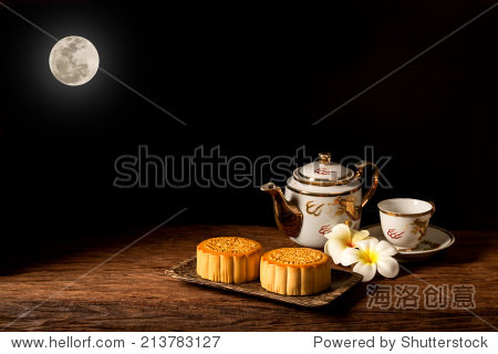 Chinese Moon cake under the full moon.