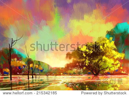 digital painting of a beautiful lake colorful sky landscape illustration