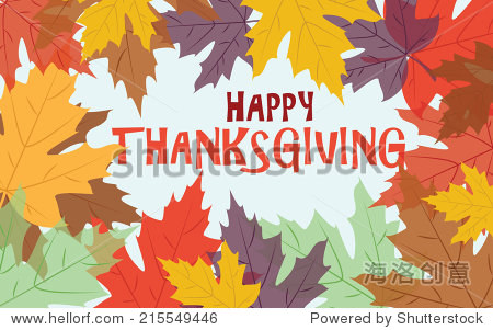 Happy Thanksgiving with colorful autumn leaves  vector card