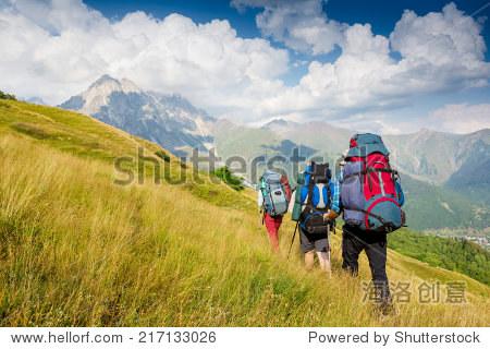 Hiking team. travel sport lifestyle concept
