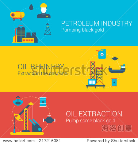 Oil power concept flat icons set of petroleum industry refinery extraction mining and vector web illustration website click infographics elements collection