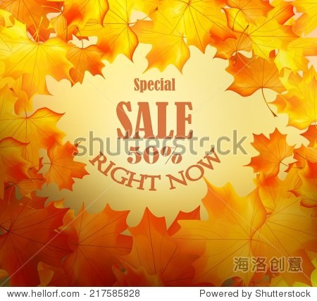Autumn sale background with maple leaves.