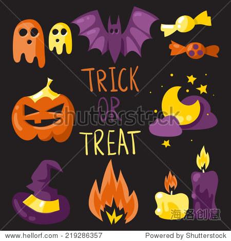 Trick or treat elements vector Halloween set