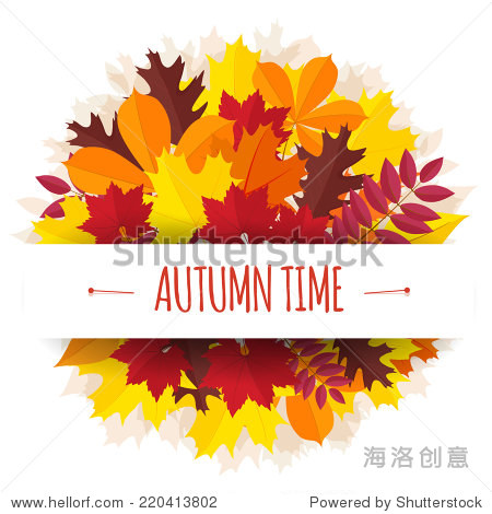 bouquet from autumn leaves with a paper tape.vector illustration