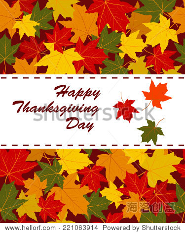 Happy Thanksgiving Day card.letters and colorful autumn leaves  vector
