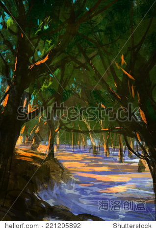 digital painting of forest on the beach illustration