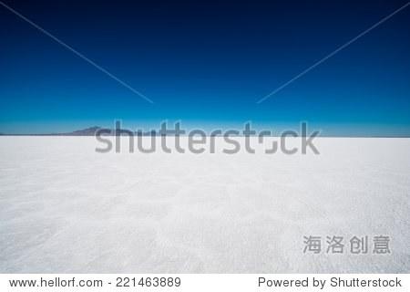 Salt Flats in Utah. Salt Flats Landscape. Dark Blue Sky and Snow White Salt Soil. Boneville near Salt Lake City  Utah  United States. Bonneville Salt Flats